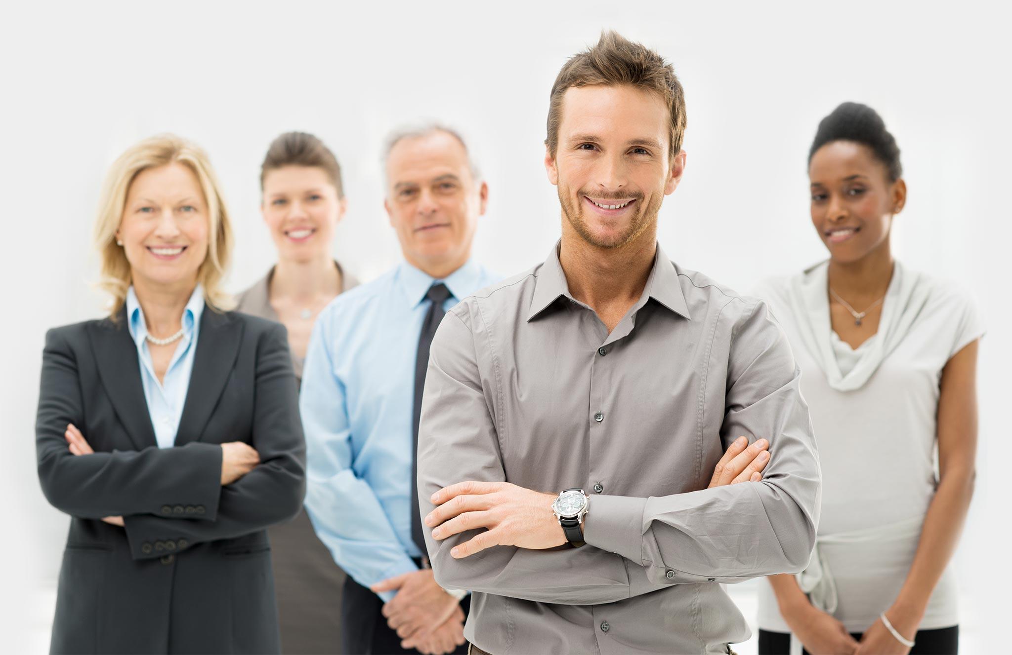 бизнесмен и его команда