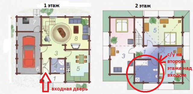 туалет над входом на втором этаже